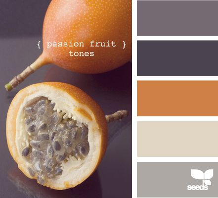 """Fall Inspiration: how about the passion fruit color as a tiny """"pop"""" of color in a gray bedroom..."""