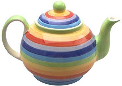 Large Ceramic Rainbow Multicoloured Teapot - Coffee Tea Set