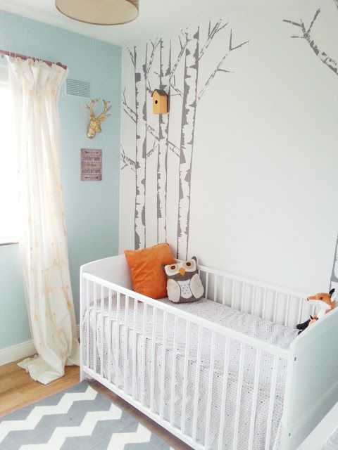 diy birch tree painted mural feature wall nursery kids room - she did these cool trees by dipping the edge of a plastic cutting board in paint and dragging it vertically from the edge of the tree into the center.  How cool is this!?