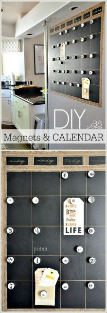 DIY Chalkboard Magnetic Calendar. A great way to stay organized on the office or at home.