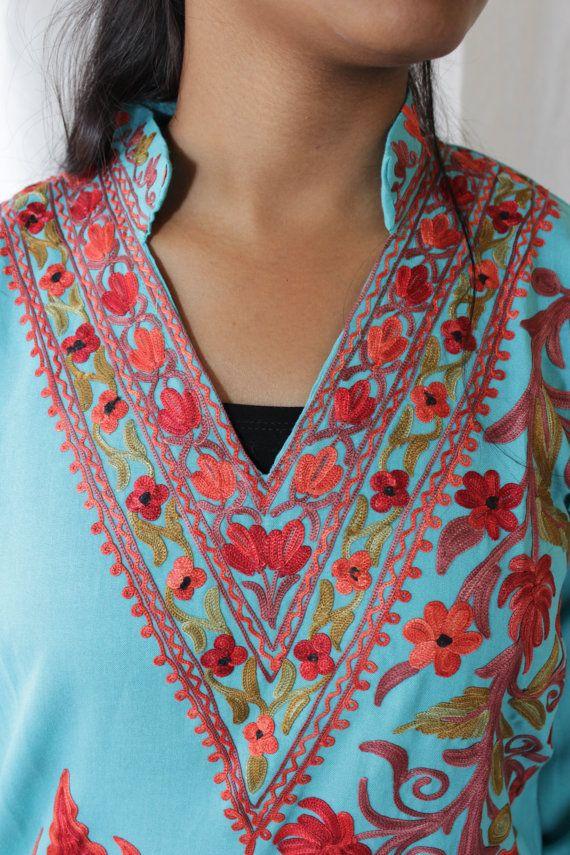 Blue cotton hand embroidered Indian Kurta, Tunic, Top, dress, Hippie, Bohemian-fits medium.
