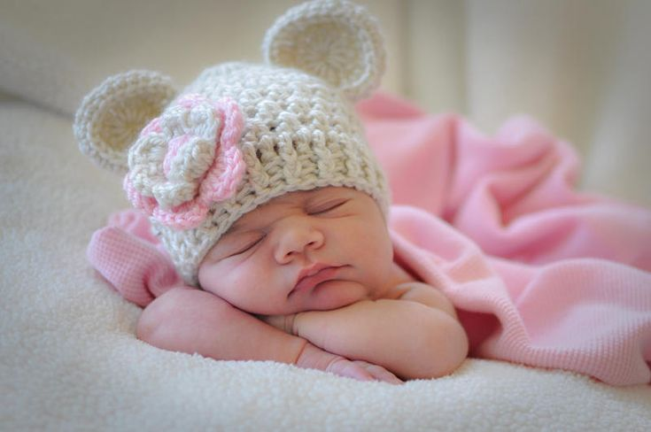 Crochet Baby Hat, Baby Girl Crochet Hat with Ears-Oatmeal and Light Pink 0-3, 3-6 or 6-12 months-MADE TO ORDER