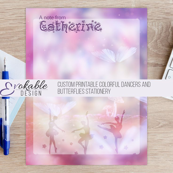 Custom Printable Colorful Dancers and Butterflies Stationery by EvokableDesign on Etsy