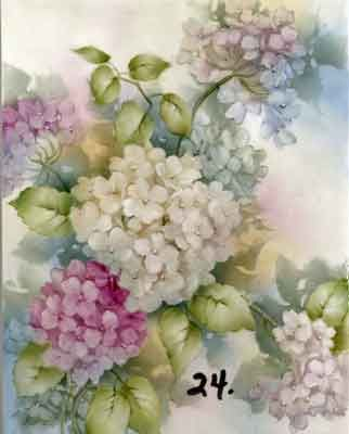 Study of Hydrangeas for china painters and porcelain artists, available online in seminars and studies from Charlene Ferrell Whitler porcelain artist and teacher
