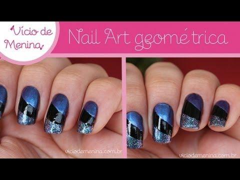 Nail Art geométrica - Listras diagonais e arredondadas