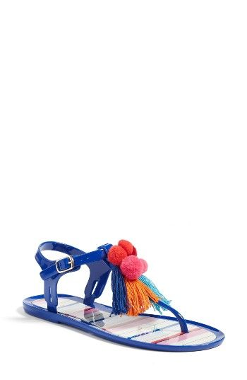 Free shipping and returns on kate spade new york yellowstone t-strap jelly sandal (Women) at Nordstrom.com. Vibrant pompoms and tassels cheerfully top the T-strap of a thong sandal outfitted with royal-blue jelly straps and colorful stripes on the footbed.