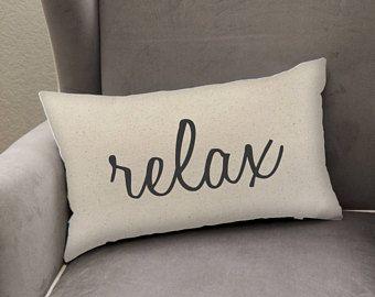 18x10.5 Canvas Lumbar Pillow Cover, Relax, Home Decor, Living Room Neutral Pillow, Bedroom Throw Pillow Cover, Farmhouse Style Pillow, Comfy