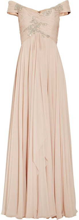 Off the shoulder Silk chiffon Gown in blush. I think I need this.
