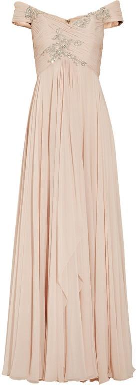 Marchesa | Pink Offtheshoulder Embellished Silkchiffon Gown