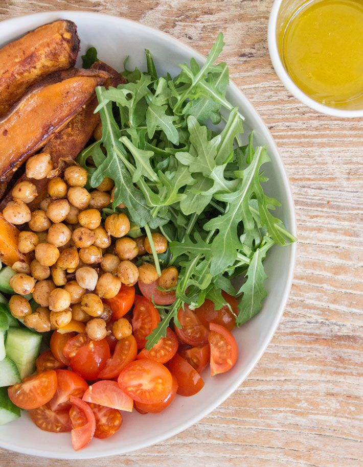 This might be the best lunch ever, it's too good! The sweet potato wedges are so amazingly tender and have delicious hints of cinnamon, which contrast perfectly with the baked chilli chickpeas, peppery rocket, cucumber and tomatoes. It's a great meal to take to work with you too, as you can bake the sweet potato …