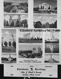 Image No: NC-7-800 Title: Christmas card sent by Edward J. Wood and family, Cardston, Alberta. Date: 1944 Photographer/Illustrator: Atterton Studio, Cardston, Alberta