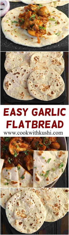 Easy Garlic Flatbread is a pillowy, soft and delicious bread recipe that can be served with soup, any gravy (curry) of your choice, or also be used to prepare shawarma wraps, kati rolls, quesadillas or other similar bread flatbread sandwiches. No yeast is used to make this bread. #bhgfood #buzzfeedfood #feedfeed #bread #noyeast @feedfeed #indian #flatbread #nobake