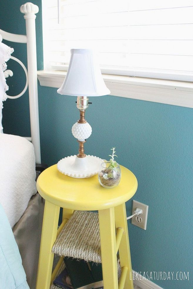 Side Table Repurposed From Barstool. Wrapping the rungs with rope adds extra shelves. Great idea!