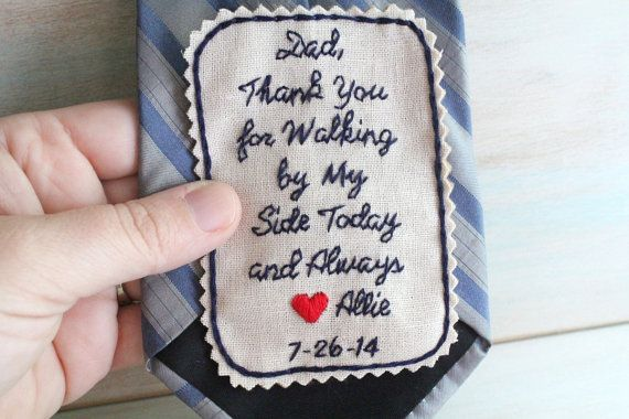Father of the Bride. Hand Embroidered Tie Patch. Father of the Bride Gift. Tie Patch. Necktie. Wedding. Gift for Dad. Sew Happy Girls.
