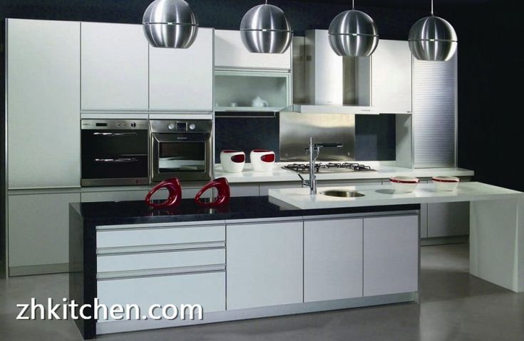 Glossy White Lacquer Painted Kitchen Cabinets Kitchen