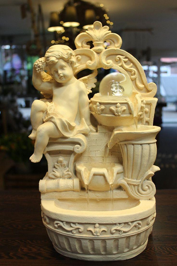 Fabulous Springbrunnen Engel mit LED Beleuchtung und drehender Glaskugel Tischbrunnen Zierbrunnen Zimmerbrunnen Amazon de