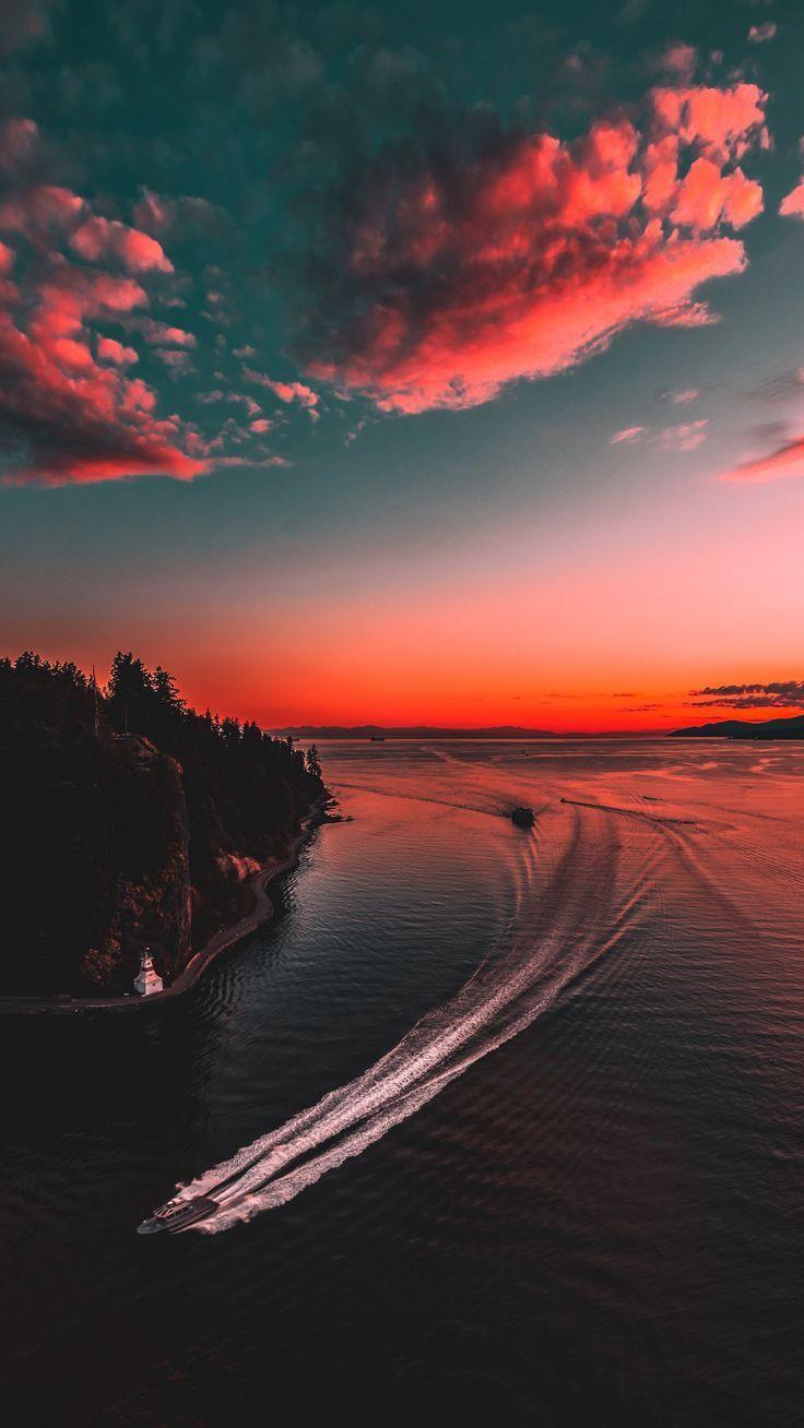 Nature yacht sea sunset wallpapers hd 4k Hintergrund