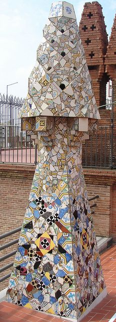 In this chimney of Palau Güell, Barcelona  you can see one of the most iconic motifs that characterizised the work of ANTONI GAUDI BCN, Catalunya, Spain