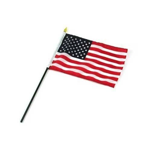 "US Flag 6in x 9in by US Flag Store. $0.55. Printed on High Quality Silky-Looking Polyester Fabric with Sewn Edges and Sewn Pole Sleeve. Made in China. Low Cost Shipping Available!. Mounted to a 14"" Black Plastic Stick with a Gold Spear Tip. US Flag 6in x 9in. US Flag 6"" x 9"" This is our best quality flag, which is nicely printed onto high quality silky looking polyester fabric. This US stick flag has a sewn pole sleeve, which mounts the flag to a 14 inch black plastic stick ..."