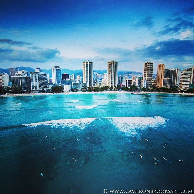 A beautiful shot of Waikiki by @cameronbrooksart. We have a couple hotels to choose from here in Hawaii to add to your travel bucket list! Check out Hyatt Place Waikiki and Hyatt Regency Waikiki at hyatt.com.