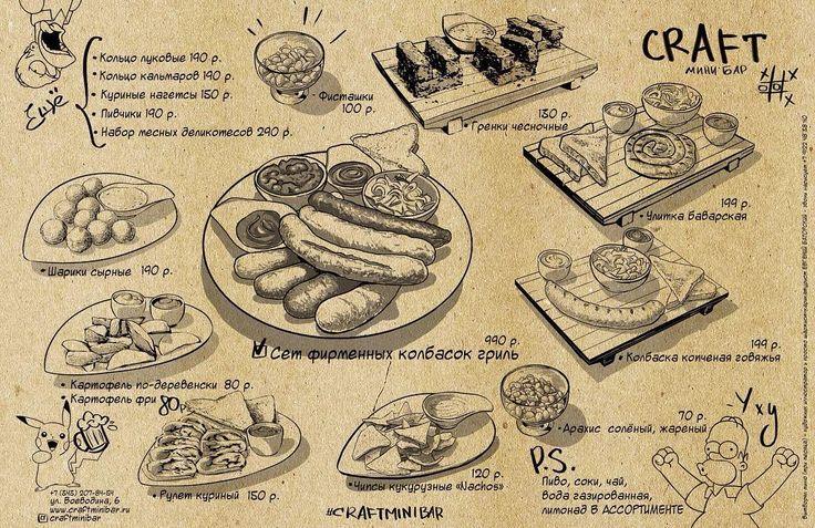 НАШЕ МЕНЮ! Вчера приехали наисвежайшие Немецкие колбаски к пиву аж 6 видов. Ну и теперь у нас есть все меню что вы видите на картинке! Приходите в гости! #нашеменю #меню @craftminibar #craftminibar #екатеринбург #плотинка #воеводина6 #крафтовоепиво #гриль #колбаски Рисовал нам эту менюшку талантливый художник @batorsky4