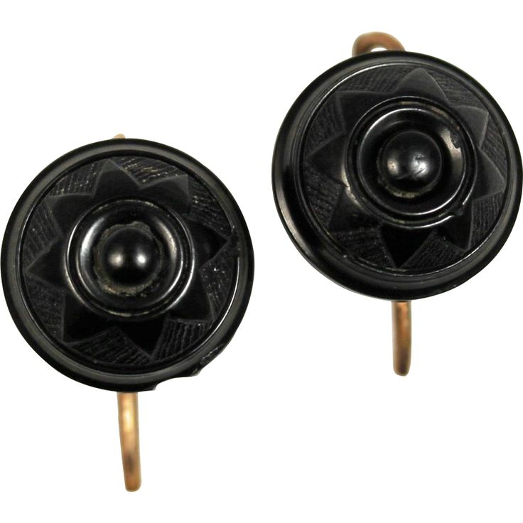 Victorian Whitby Jet Carved Rose Gold Earrings | Beautiful Jewelry ...