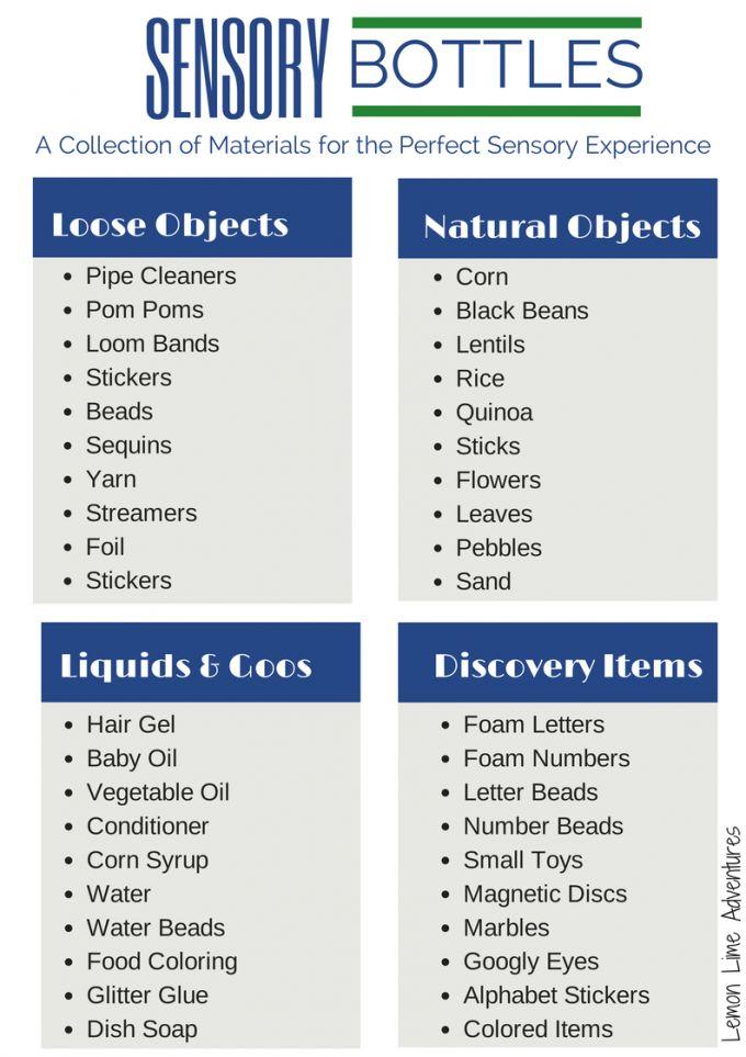 FREE PRINTABLE   Sensory Bottle Materials List... 40 ideas for sensory bottle fillers.  PIN for LATER!