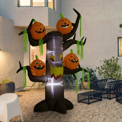 The Holiday Aisle Outdoor Air-blown Haunted Tree with Jack-O-Lantern Pumpkins Halloween Inflatable