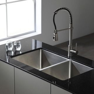 Kraus 33 Inch Undermount 50 50 Double Bowl 16 Gauge Stainless Steel Kitchen Sink With Noisedefend Soundproofing By Kraus