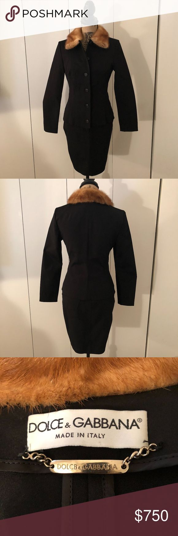 Vintage Dolce & Gabbana Suit with Fur Collar Chic vintage Dolce & Gabbana suit w…