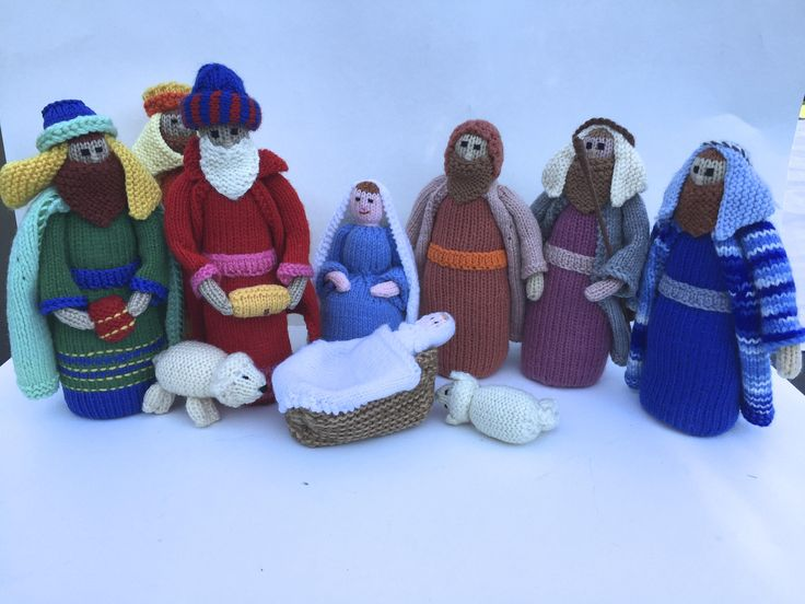 FREE SHIPPING Hand Knitted Nativity Set, Christmas Set, Noel, Nativity, Story of Christmas, Creche, Christmas Dolls by ChezShirlianne on Etsy
