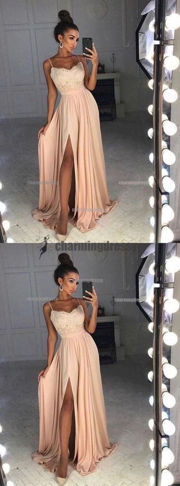 Spaghetti Straps Simple Popular Lace Top Side Split Prom Dresses, Evening Dresses   – Abschlussball Kleider