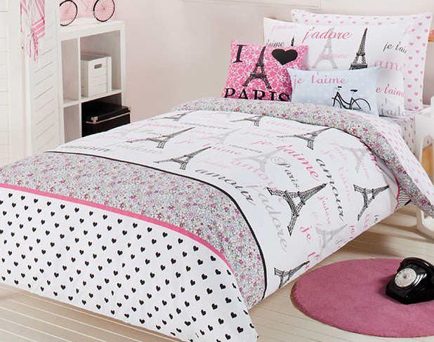 Modern bedroom with feminine paris themed comforter set for Small rug for bedroom