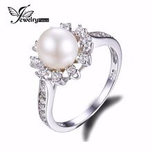 Snow Flake Freshwater Pearl & Shining CZ Eternity Ring 925 Sterling Silver Jewelry For Women Classic Wedding White Pearl Ring(China (Mainland))