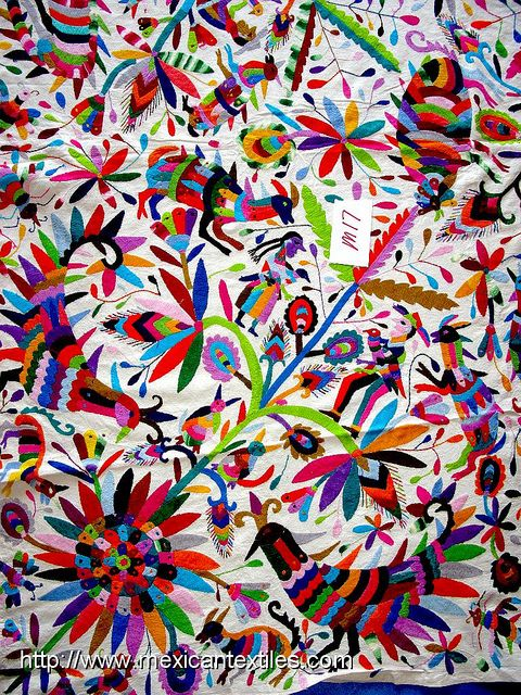 Bright, bold colour, with mexican inspired print  Otomi Embroidered Fabric by Mexico Culture, via Flickr