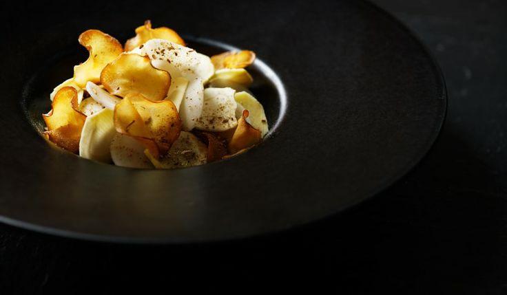 Oatmeal with Jerusalem artichoke at our Michelin star restaurant Kokkeriet, Copenhagen - Denmark.