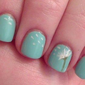 Just a cute little dandelion mani!: Nails Art, Cute Nails, Nails Design, Tiffany Blue, Cute Ideas, Happy Colors, Summer Nails, Nails Ideas, Dandelions Nails