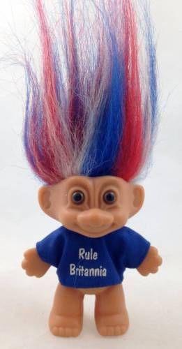 Rule Britannia Russ Troll Doll Red White Blue Hair England British