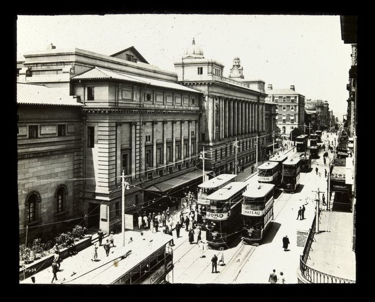 Trams outside Cape Town Railway Station, Adderley Street. Photographer unknown - Undated but circa 1920–1930.