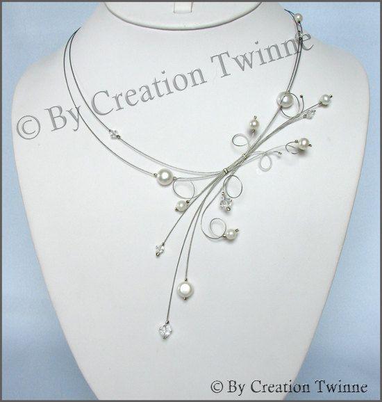 cristal swarovski perle collier nuptiale de mariage perle bijoux, Ivoire mariage collier collier de demoiselles d'honneur, cadeau de la mère...