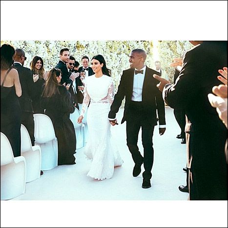 Kim Kardashian shared a photo of her and Kanye on their wedding day