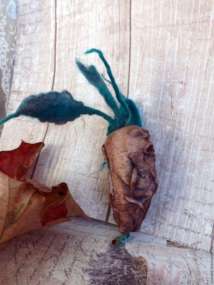 Купить Мандрагора. Карманная - коричневый, авторская лепка, мандрагора, подарок на день рождения, новогодний подарок