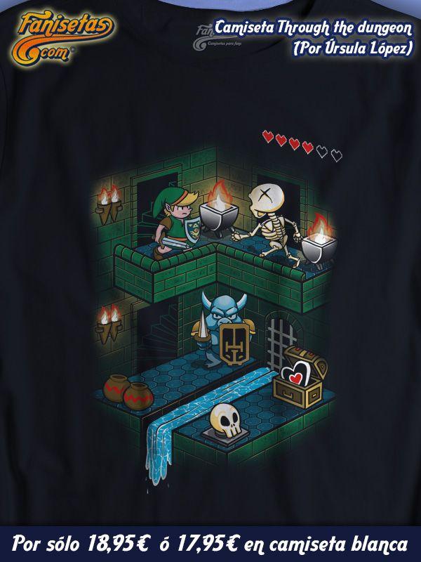 """""""Through the dungeon"""" #Link en una de sus tantas aventuras para salvar a la #princesa #Zelda pasa por esta mazmorra. ¿Sobrevivirá? #Camisetas #Divertidas #Fanisetas #TheLegendOfZelda #Videojuegos http://www.fanisetas.com/camiseta-throug-the-dungeon-p-6100.html"""