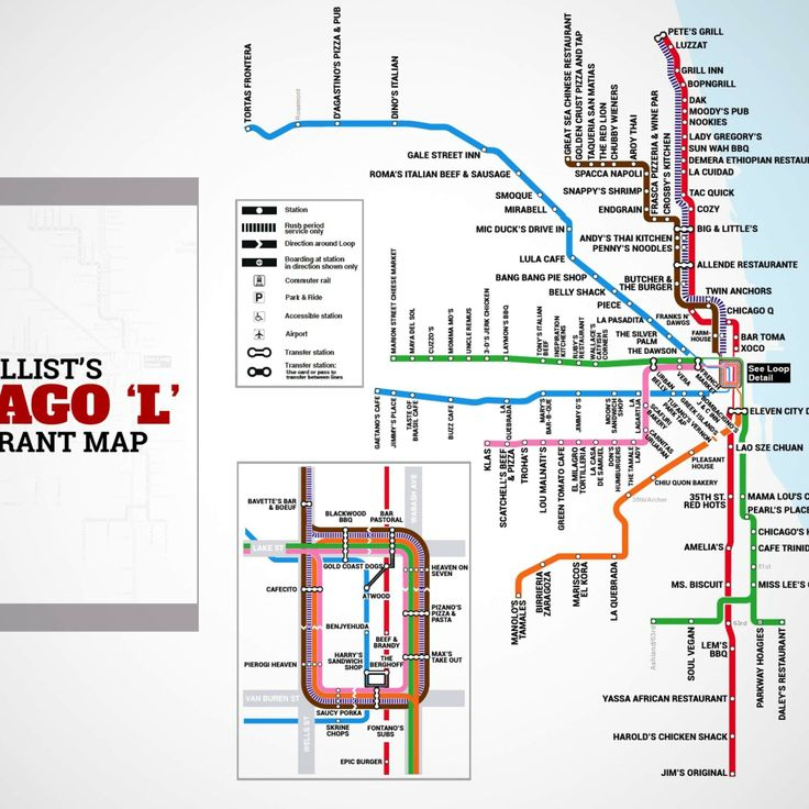 """Chicago's first-ever """"L"""" restaurant map [Some good ideas but why would you even take the pink line of not going to Aguascalientes on Cicero? Get off the blue line at Harlem and miss fries at Parkeys? Heavy on Italian food but Chicago teens to be, I guess -- 09-06-14]"""