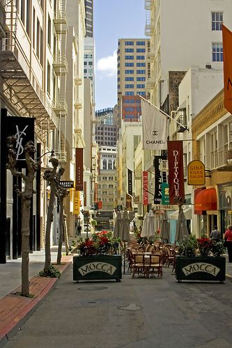 Maiden Lane, Union Square, San Francisco.  Shopping while being serenaded by opera singers!