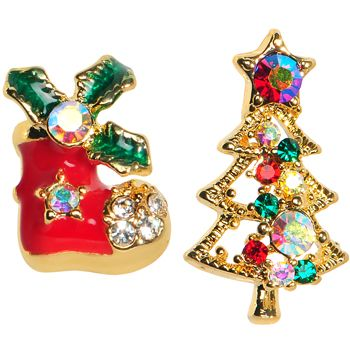 $9.99 Gold Tone Gem Holiday Stocking Christmas Tree Mixed Earring Set christmas, holiday, gift, gift set, bonus pack, tree, joy, piercing, bodycandy, stocking stuffer