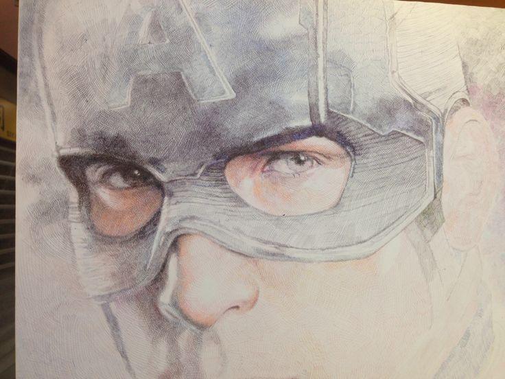 Captain America by Kit Law - fine line pen art.