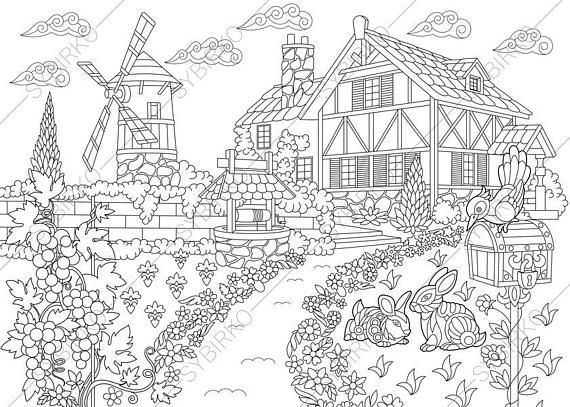 Adult Coloring Pages Countryside Farmhouse Zentangle Doodle