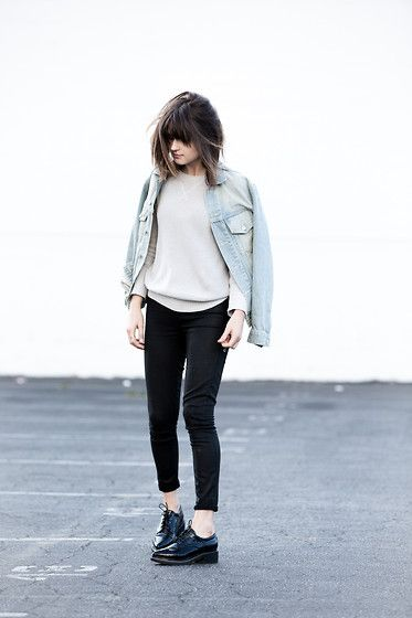 First Base Knit Sweater, Paige Denim Waxed Denim, Missguided Croc Brogues