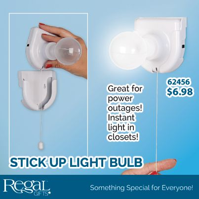 "STICK UP LIGHT BULB  Installs anywhere for instant lighting! Just stick up the base, slide in the bulb and pull on the 6"" chain to turn on and off. Shatterproof plastic stays cool to touch. Uses 4-AA batteries (not incl.). Mounting hardware included. 5""H x 3-3/4""Diam."